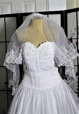 WHITE  BEADED WEDDING GOWN with VEIL,   8