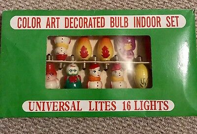 Antique vintage milk glass figural Christmas lights lot of 16. In Box.