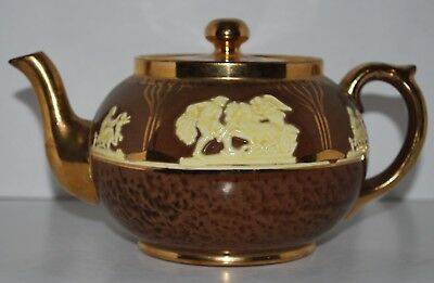 Vintage Gibsons Teapot, Brown with Gold Trim,  made in Staffordshire England