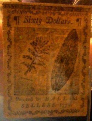 Continental Currency,  Sixty Dollar Note, 1779,  Signed by N Donnell