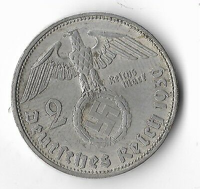 Rare Orig WWII German 1939 SILVER Reichsmark Eagle Great War WW2 Collection Coin