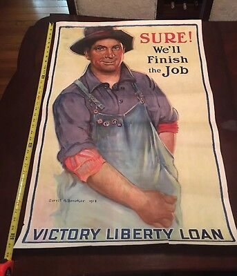 "WW1 Orig Poster ""SURE WE'LL FINISH THE JOB"", G. A. Beneker, 1918 American Farmer"