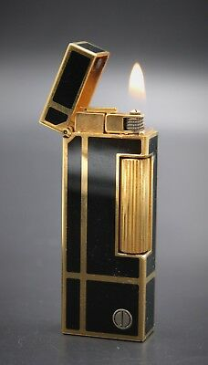 DUNHILL Gold Plated Black Lacquer Rollagas Lighter w/ Box & Papers