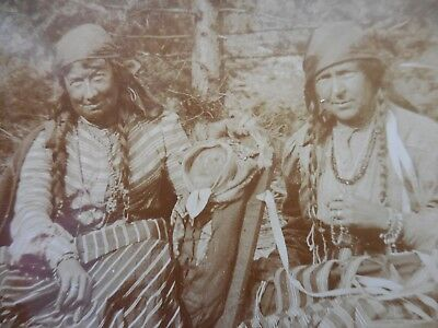 Native American Indian Original Historic Photo Two Spirit Couple & Papoose