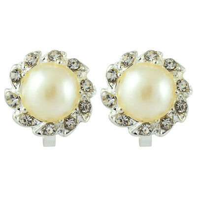 Comfy Clip On Cream Ivory Pearl & Rhinestone Crystal Round Stud Silver Earrings