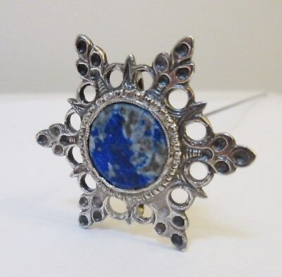 Antique Hatpin Blue Agate in Sterling Silver Snowflake