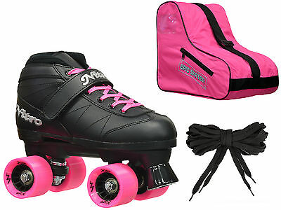 Epic Super Nitro Black & Pink Quad Roller Speed Skates 3 Pc. Bundle w/ Bag
