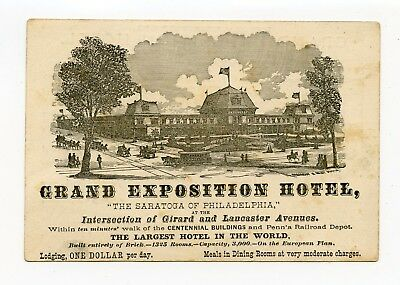 Philadelphia 1876 Centennial Grand Exposition Hotel Victorian Trade Card