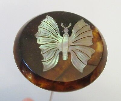 Antique Hatpin Silver Inlay Butterfly on Shell