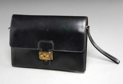 Authentic Hermes Black Leather Evening Wristlet, 1981 With Keys