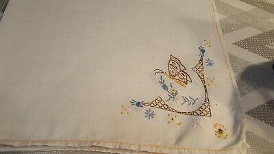 Vintage tablecloth/topper, linen, hand embroidery, butterfly and floral