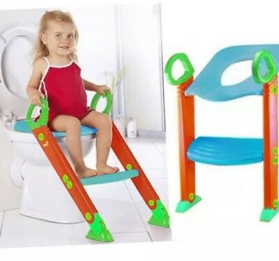 Childrens Toilet Trainer Potty Loo Seat Trainer System Step Up Ladder Kids
