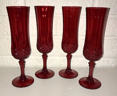4 CRISTAL D'ARQUES LONGCHAMP RUBY RED FLUTED CHAMPAGNE GLASSES DISCONTINUED New
