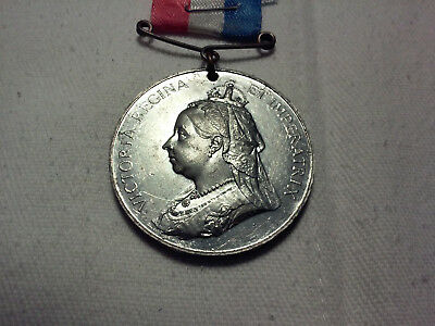 1837-1897 QUEEN VICTORIA 60th YEAR of REIGN ribbon medal REV. P-L *free shipping