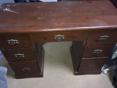 Vintage Mid Century Wood Desk Multi Drawer small desk