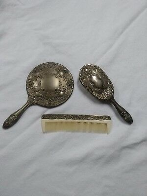 Silver Plated Vanity Set Comb Brush Mirror