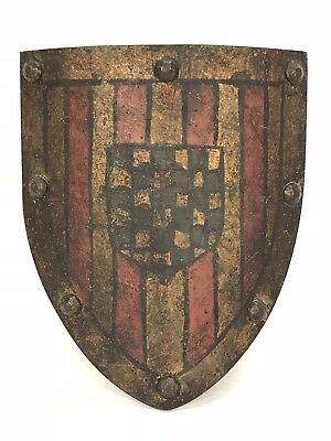 Antique Vintage Painted Iron Medieval Coat Of Arms Hanging Crest Shield