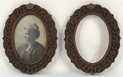 Pair Antique Vintage Hand Carved Black Forest Oval Frames 4 x 2 7/8 Openings