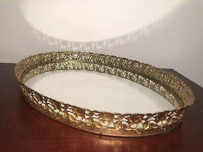 """Vintage 17"""" Gold Gilt Mirror Vanity Tray with Roses and Vines"""