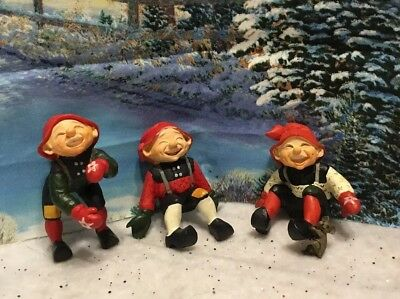 2 CANDY DESIGNS Mini CHRISTMAS ELF GNOME Figurine NORWAY Mice
