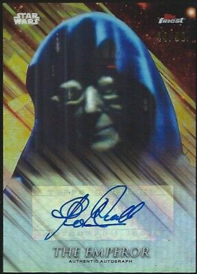 2018 Topps Star Wars Finest CLIVE REVILL as THE EMPEROR Refractor Auto #44/99