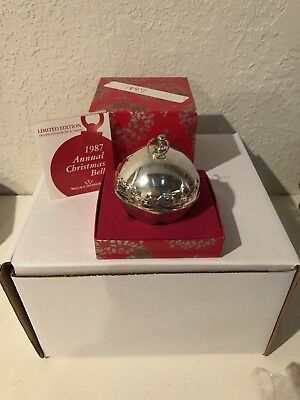 1987 Wallace Annual Silver Plated Christmas  Bell Ornament Limited Edition Used