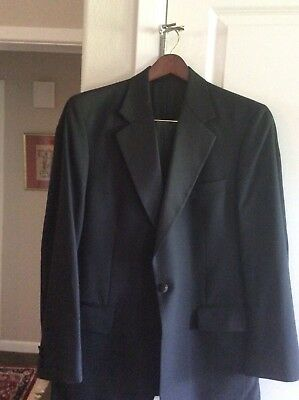 Brooks Brothers Black Wool Tuxedo One Button  Size 40L Excellent Condition