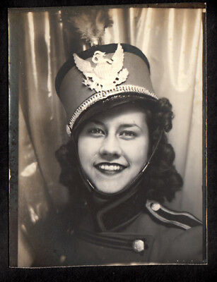 MARCHING BAND UNIFORM PERFECT SMILE MUSICAL GIRL ~ 1930s PHOTOBOOTH PHOTO!