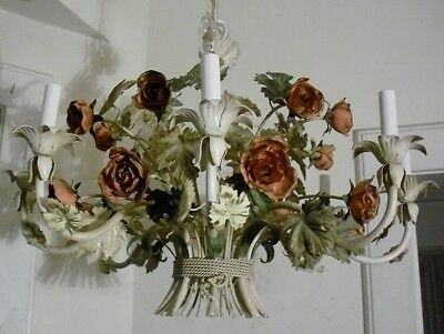 RARE 8 LIGHT VINTAGE 1950's-60's TOLE CHANDELIER with ROSES