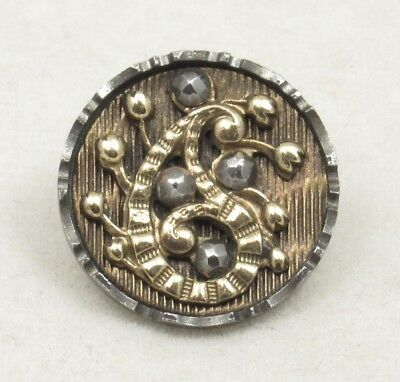 Antique Vintage Victorian Button~ Small Ornate Paisley w/Cut Steels in Steel Cup