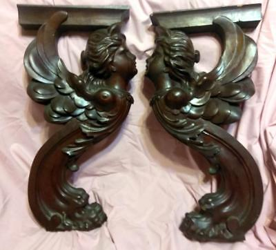 Pair of Two Antique Winged Carved Wood Angel Woman Griffin Architectural Salvage