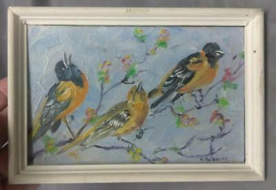 Old Vintage Oil Painting 3 Birds Bird Impressionist Original Artist Signed Art