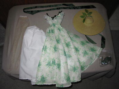 """Tonner Doll Outfit Loose Scarlett O""""Hara BBQ Dress Gown Straw Hat Shoes Slip!"""