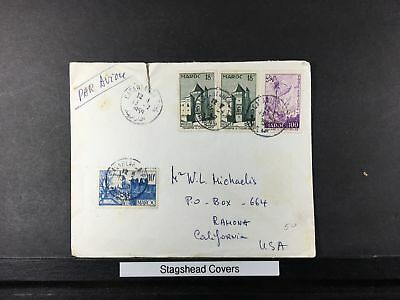 Morocco Cover 13 Jul 1959 Air Mail Church Pair Addressed To US