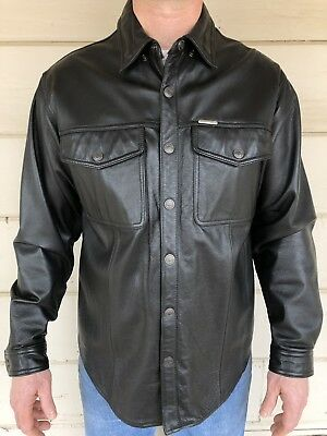 Nearly Perfect Harley Davidson Black Leather Snap Front Shirt Mens Large