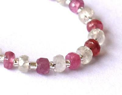 White N Pink Sapphire Beads Faceted Rondelle 3.5 Mm Gemstone. 7 Cts. 19 Pcs#a735