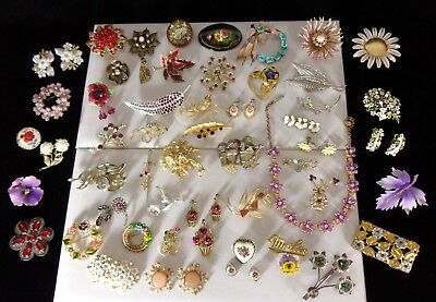 53 Piece Lot Vintage Estate Flower Jewelry Brooches Earrings Necklace