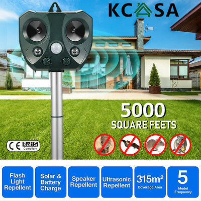KCASA Solar Ultrasonic Animal Repellent Pest Repeller Motion Sensor LED Light AU