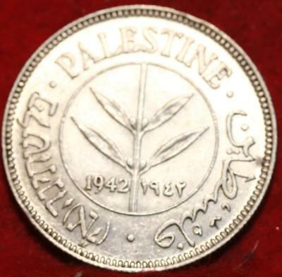 1942 Palestine 50 Mils Silver Foreign Coin