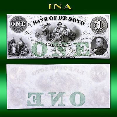 Nebraska Bank of De Soto $1 Obsolete Currency Gem Crisp Unc Very White & Vivid