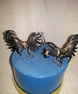 Vintage Pair Ornate 850 SILVER Fighting Cocks Roosters Figures FREE SHIP!