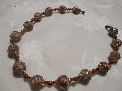 Vintage Old Wedding Cake Fancy Murano Glass Bead Necklace