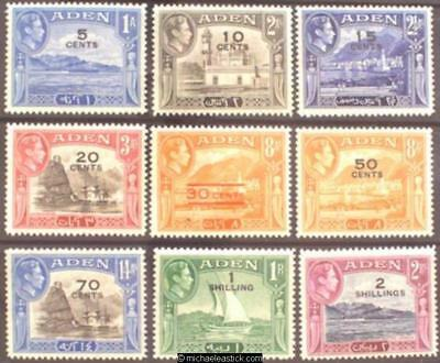 1951 Aden 5c-2s Surcharges (9), SG 36-44, MH