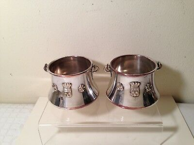 Pair Of Antique French Silverplate Small Pails Aurillac Coat Of Arms Clover