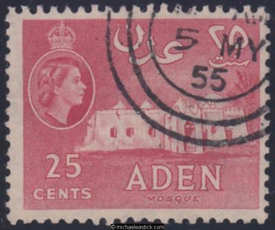 1962 Aden 25c Red, SG 54a, used, variety: