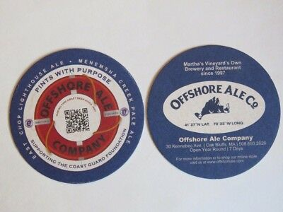 Beer Pub Coaster: Offshore Ale Company ~ Pints With Purpose ~ MA Brewery 1997