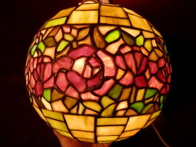 "Vintage Leaded Stained Glass 10"" Ball Shade With 3 Hanging Hooks Excellent Nr!!"