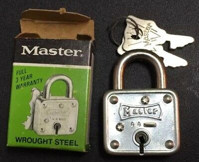 "NEW Vintage Master Lock #44 D Steel 1 1/4"" Square Made in USA"