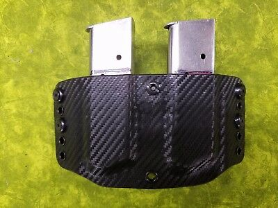 Look! Super Nice Left Black Carbon Kydex Double Mag Holster Truly Hand Fitted