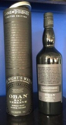 Game Of Thrones Scotch Whisky - Nights Watch Oban Bay Reserve RARE!!